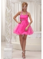 Beaded Decorate Halter Hand Made Flower Hot Pink Organza Mini-length Prom / Cocktail Dress For 2013