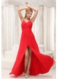 Beaded Decorate Straps High Slit Prom / Evening Dress For 2013 Chiffon Floor-length