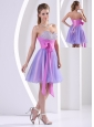 Beaded Decorate Sweetheart Lavender and Lilac Prom / Homecoming Dress With Sash Knee-length