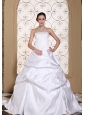 Beautiful A-line Wedding Dress For 2013 Embroidery On Taffeta White Pick-ups Gown