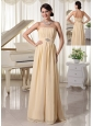 Champagne Ruch and Beading Chiffon Prom Dress For New Arrival