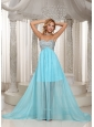 Custom Made Design Own Prom Dress With Aqua Blue Sweetheart Beaded Brush Train For Party Style