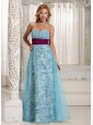 Custom Made Zebra A-line Sweethart Long Prom / Celebrity Dress With Aqua Blue