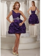 Eggplant Purple One Shoulder Beading and Pick-ups Mini-length Prom Dress For Party