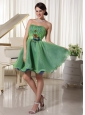 Green Cute A-line Strapless Cocktail / Homecoming Dress Oraganza Ruch and Handmade Flower Belt Mini-length