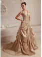 Halter Taffeta Champagne Appliques With Beading Custom Made Wedding Dress With Court Train