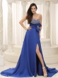 High Slit Beaded Decorate Bust Bowknot Peacock Blue For Prom Dress Customize