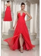 High Slit Coral Red V-neck Long Prom Dress With Chiffon