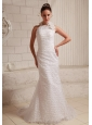 Lace Hand Made Flower Sheath Wedding Dress With Halter Brush Train