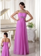 Lavender Beaded Chiffon Empire Prom Dress For New Arrival Floor-length