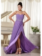 Lilac High Slit With Beaded Decorate Waist Sweetheart Custom Made Prom Dress