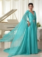 Long Sleeves V-neck Turquoise Chiffon Wonderful Prom Dress With Appliques and Beading