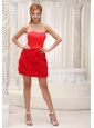 Lovely Red Prom / Homecoming Dress For 2013 Fabric With Rolling Flower and Taffeta With Sweetheart Neckline