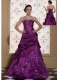 Modest Purple Prom Dress For 2013 Taffeta and Organza With Embroidery Gown