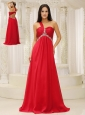 One Shouder Red and Natural Waist Ruched Appliques Chiffon Modest Dress