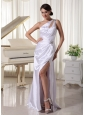 One Shoulder High Slit Prom / Celebrity Dress For Custom Made With Ruch and Beading