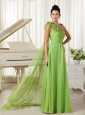 One Shoulder With Hand Made Flowers Chiffon Prom Dress Watteau Train Spring Green