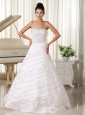 One Spaghetti Strap Beaded and Embroidery Over Skirt Sweertheart Wedding Dress