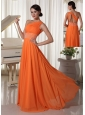 Orange Chiffon One Shoulder Prom Dress With Ruch and Beaded Decorate Waist Brush Train