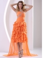 Orange Chiffon Sweetheart Beaded and Ruffled Layers Detachable High-low Prom / Homecoming Dress