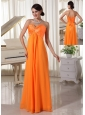 Pretty Orange Sweetheart Beaded Prom / Evening Dress Satin and Chiffon