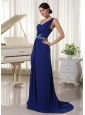 Royal Blue One Shoulder Chiffon Prom / Evening Dress With Brush Train Appliques With Beading and Ruch