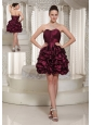 Short Lace-up Burgundy 2013 Prom Dress With Strapless Pich-ups