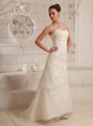 Sweetheart Lace and Organza Wedding Dress For Custom Made A-line Brush Train