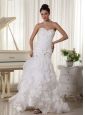 Sweetheart Wedding Dress With Mermaid Beading and Ruffles Florida Brush Train