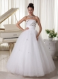 Tulle Beaded Bust and Hand Made Flowers Wedding Dress With A-line Strapless