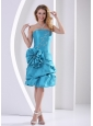 Turquoise Sheath Hand Made Flower Strapless Prom Dress With Appliques and Pick-ups
