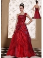 Wine Red One Shoulder Prom Dress For 2013 A-line Gown Hand Made Flowers In Organza