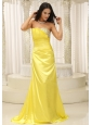 Yellow Strapless With Ruch and Beading Bodice Prom Dress Gorgeous Custom Made