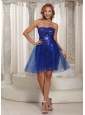A-line Peacock Blue Sequins Over Skirt Mini-length Strapless Prom / Cocktail Dress Online