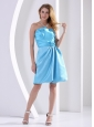 Aqua Blue Hand Made Flower and Ruch Bridesmaid Dress Knee-length A-line Taffeta