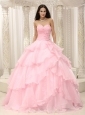 Baby Pink Ruched Bodice Hand Made Flowers Decorate Waist For Quinceanera Dress