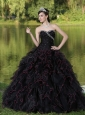 Beaded Decorate Bodice Sweetheart and Black Ball Gown For 2013 Quinceanera Dress Organza Ruffles Layered