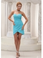 Beaded Decorate Bust Aqua Blue Prom / Homecoming Dress For 2013 Column Mini-length Gown