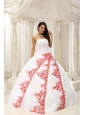 Beautiful Embroidery White Ball Gown 2013 Quinceanera Dress For Formal Evening Taffeta and Organza