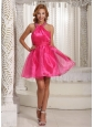 Custom Made Halter Hot Pink Mini-length Prom / Cocktail Dress With Beading Decorate