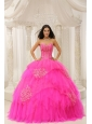 Custom Made Hot Pink Sweetheart Embroidery For Quinceanera Wear In 2013