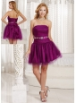 Custom Made Purple A-line Homecoming Dress And Gown WithTulle Beading in Summer