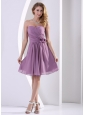 Customize Sweetheart Hand Made Flower and Ruch Bridesmaid Dress Dark Purple Chiffon