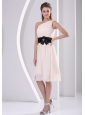 Elegant One Shoulder Champagne Chiffon Knee-length Dress For Bridesmaid Party Hand Made Flower Belt