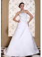 Embroidery On Satin Modest Wedding Dress For 2013 Strapless A-line Gown