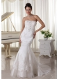 Fashionbale Appliques With Beading Mermaid Wedding Dress Sweep Train Tulle and Taffeta