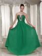 Green Sweetheart Custom Made Chiffon Evening Dress With Ruched Beading Bodice