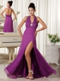 Halter High Slit Ruched Bodice Purple Homecoming Dress Floor-length