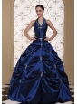 Halter Top Ball Gown Quinceanera Dress Embroidery With Beading
