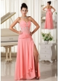 High Slit Watermelon Sweetheart Chiffon Evening Dress With Waist Beading